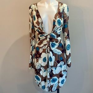 T-Bags Knot Front Flower Printed Dress